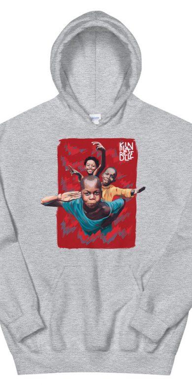 Hoodie à imprimé unisexe Les Enfants de Kinshasa | Kin La Belle Urban Streetwear Vêtement Haut à capuche Gris