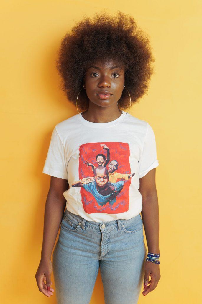 T-Shirt à col rond à imprimé unisexe   Kin La Belle Urban Streetwear Vêtement Haut