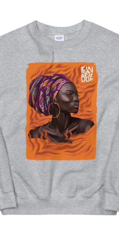Pull à col rond à imprimé unisexe La Reine | Kin La Belle Urban Streetwear Vêtement Haut Gris