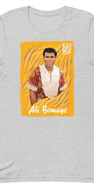 T-Shirt à col rond à imprimé unisexe Ali Bomaye | Kin La Belle Urban Streetwear Vêtement Haut Gris