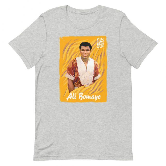 T-Shirt à col rond à imprimé unisexe Ali Bomaye   Kin La Belle Urban Streetwear Vêtement Haut Gris