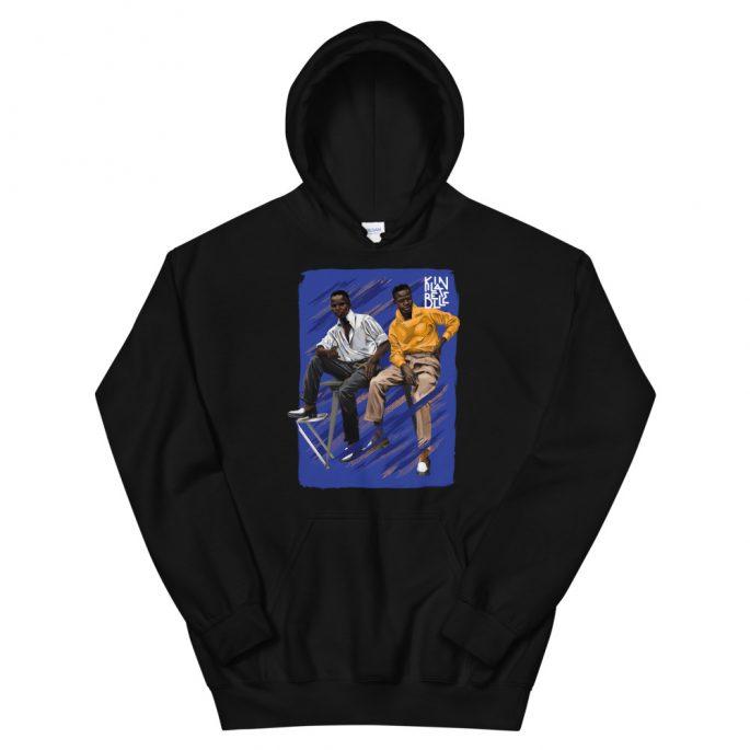 Hoodie à imprimé unisexe Les Dandys   Kin La Belle Urban Streetwear Vêtement Haut à capuche Noir