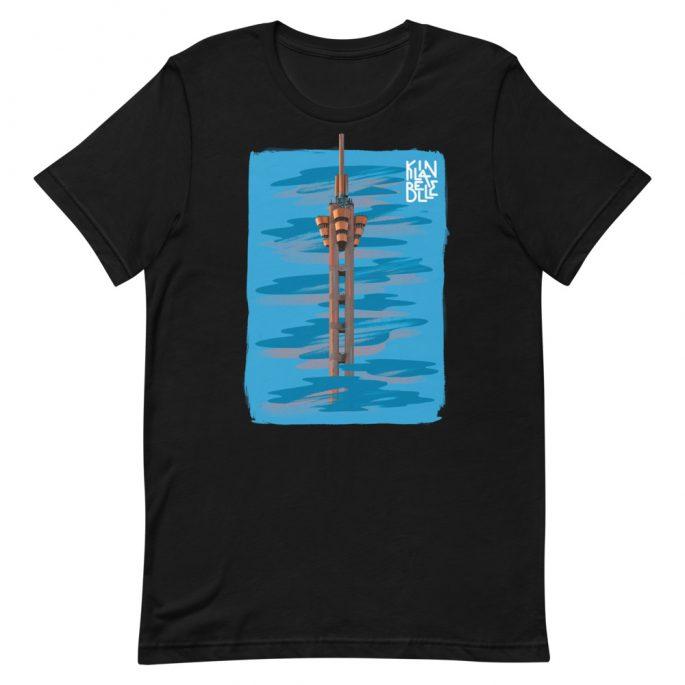 T-Shirt à col rond à imprimé unisexe L'Echangeur de Limete   Kin La Belle Urban Streetwear Vêtement Haut Noir