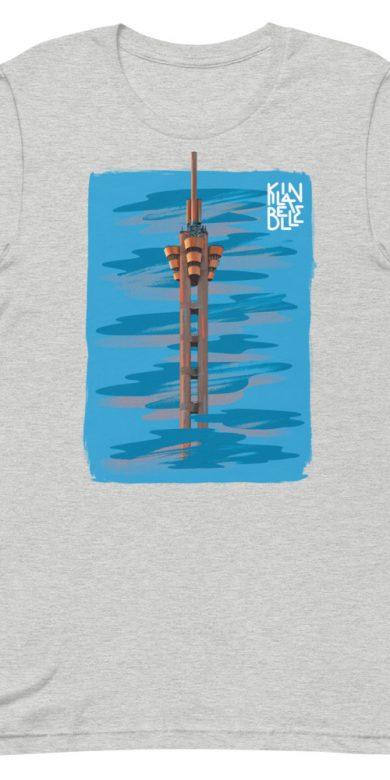 T-Shirt à col rond à imprimé unisexe L'Echangeur de Limete | Kin La Belle Urban Streetwear Vêtement Haut Gris