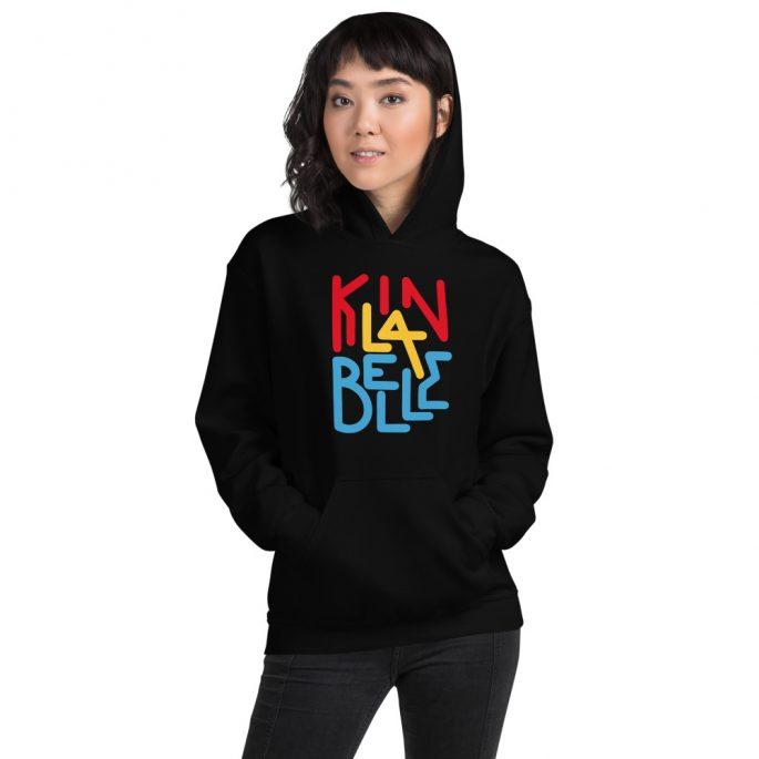 Hoodie à imprimé unisexe | Kin La Belle Urban Streetwear Vêtement Haut à capuche Noir
