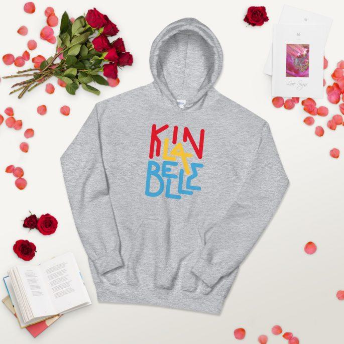 Hoodie à imprimé unisexe | Kin La Belle Urban Streetwear Vêtement Haut Gris