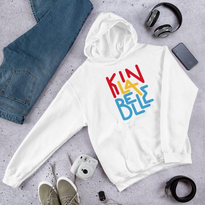 Hoodie à imprimé unisexe | Kin La Belle Urban Streetwear Vêtement Haut Blanc