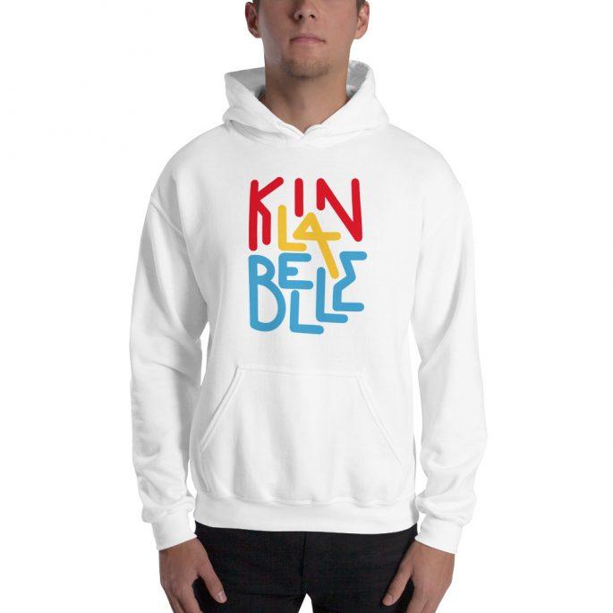 Hoodie à imprimé unisexe | Kin La Belle Urban Streetwear Vêtement Haut à capuche Blanc